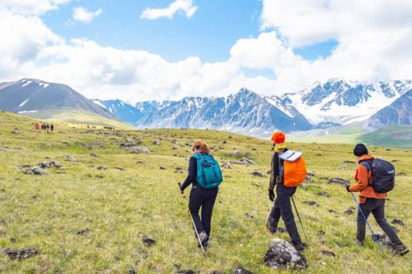 Travellers hiking in Mongolia