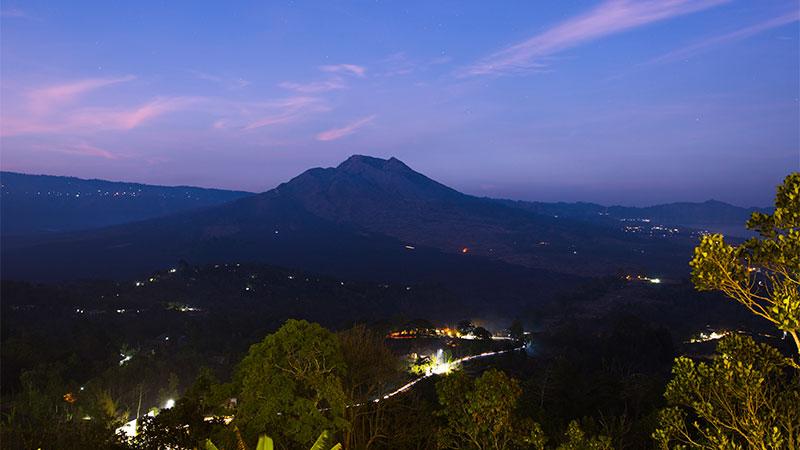 Mt Batur at dusk, Bali.