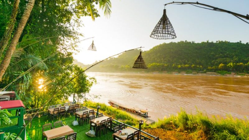 Riverside bar in Luang Prabang