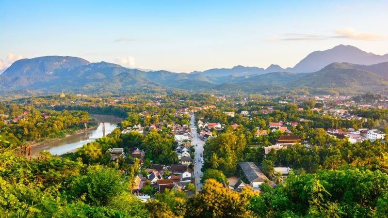 An aerial shot of Luang Prabang in Laos