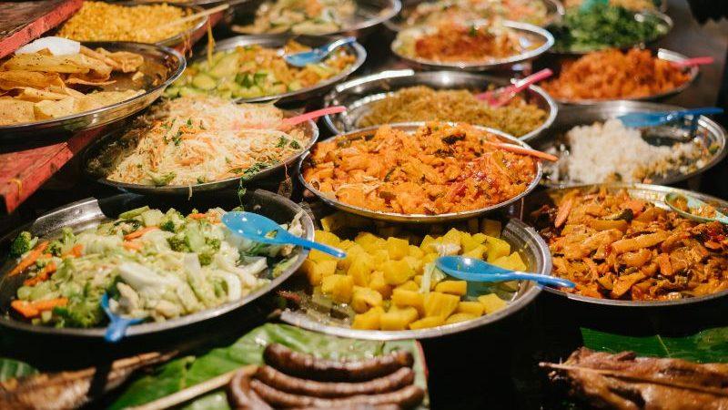Vegetarian buffet in Laos