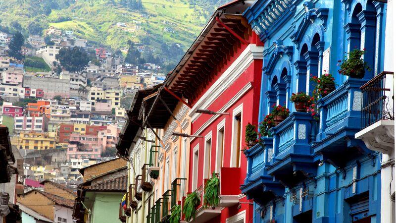 Colourful houses in Quito, Ecuador