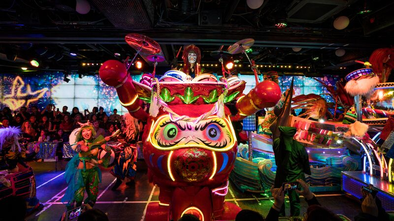 A huge colourful float at a Robot restaurant in Japan
