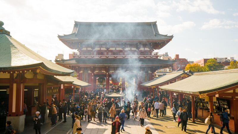 A busy temple in Tokyo