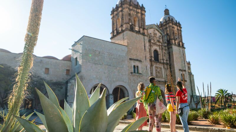 A group of travellers in Oaxaca, Mexico