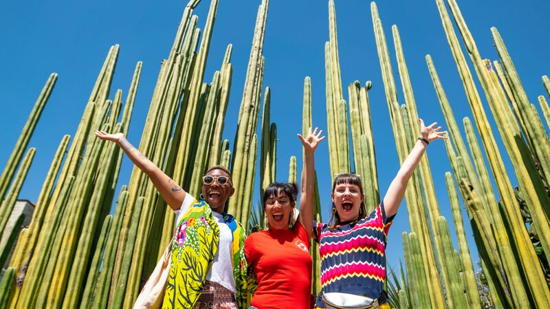 Three girls at the cactus garden