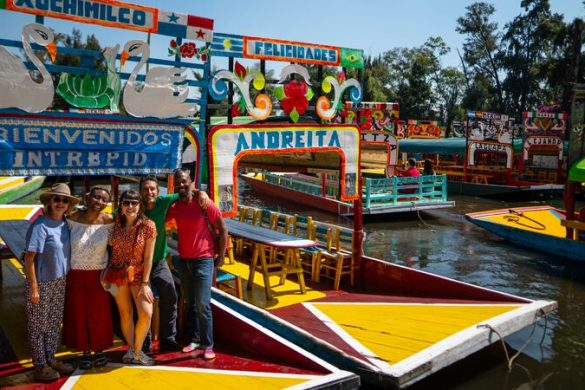 Brightly coloured boats in Xochimilko