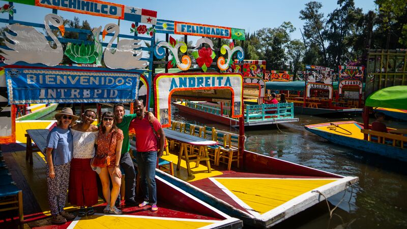 Brightly coloured boats in Xochimilko