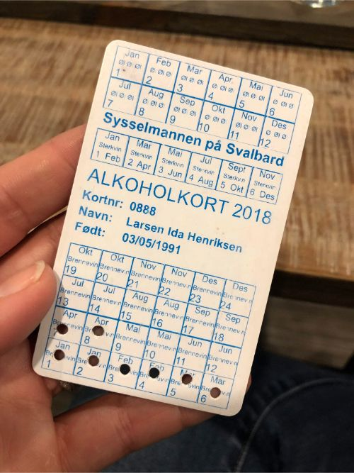 An alcohol regulation card in Svalbard