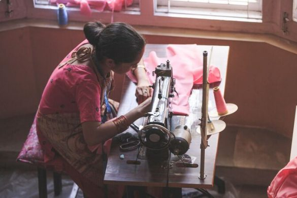 A woman sewing at Seven Women in Kathmandu