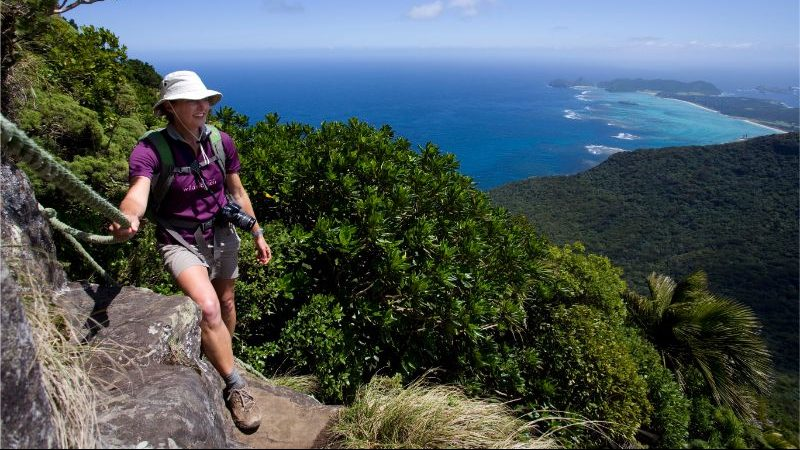 Hiker at Lord Howe Island