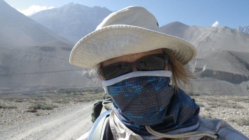 A female hiker in Nepal.