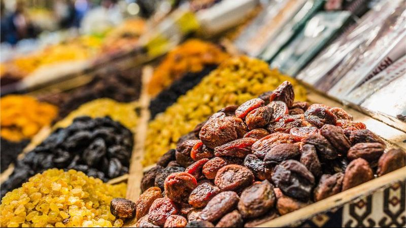 Dried fruit at a market