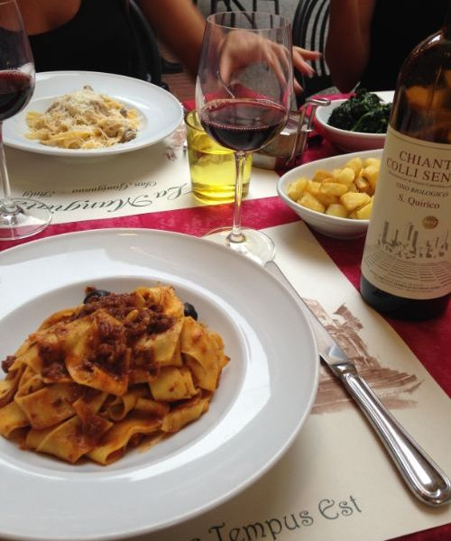 Plates of pasta, glasses of wine.