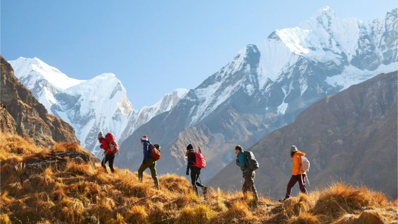 A group of trekkers in Nepal