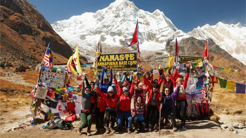 A group of trekkers at Annapurna Base Camp