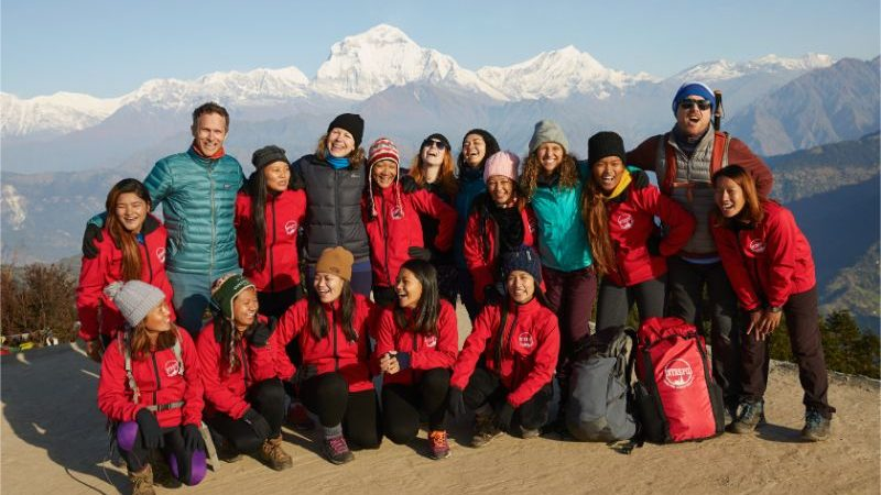 A group of trekkers and porters in Nepal