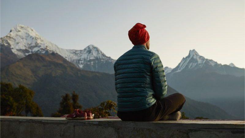 A man meditating in Nepal