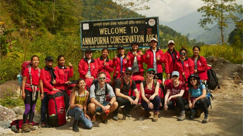 A group of trekkers on the Annapurna Base Camp trail.