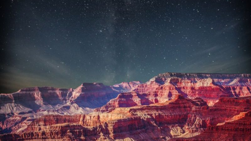 Starry sky above the Grand Canyon.