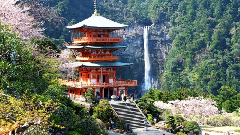 A temple in Japan on the Kumano Kodo trail.
