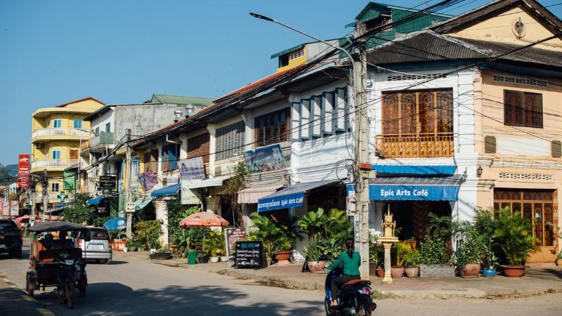A quiet street in Kampot, Cambodia