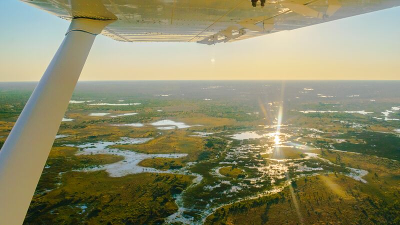 Aerial view of Botswana from a small plane.
