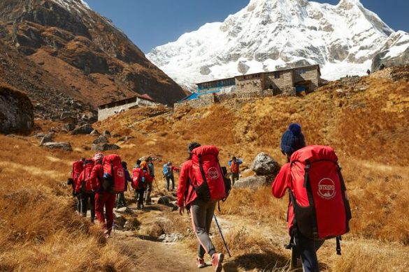 A group of trekking porters on their way to Annapurna Base Camp in Nepal.
