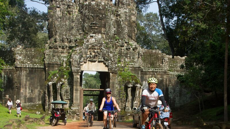 Cyclists at Angkor Wat.