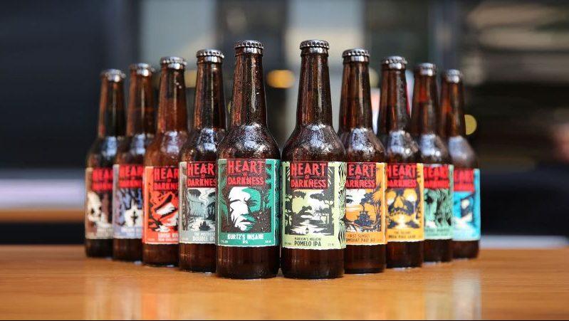 A line of beer bottles