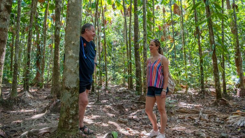 Traveller in the Daintree with guide.