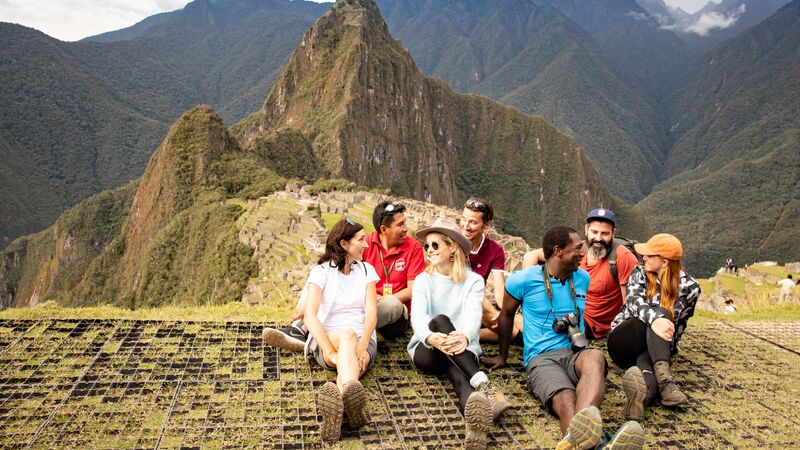 A group of trekkers at Machu Picchu