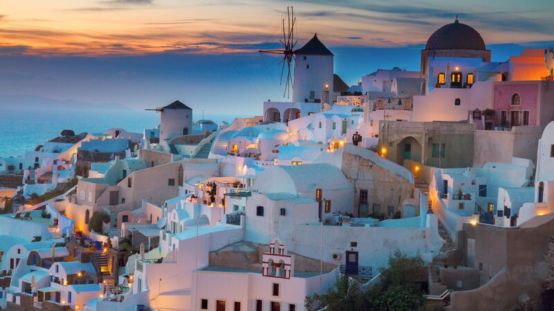 Rooftops in Santorini at sunset