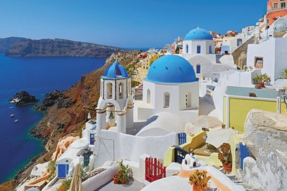 Blue domed buildings in Santorini