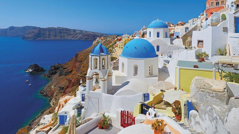 Blue domed buildings in Santorini