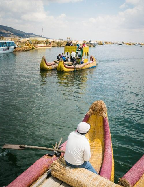 Boats on Lake Titicaca in Peru