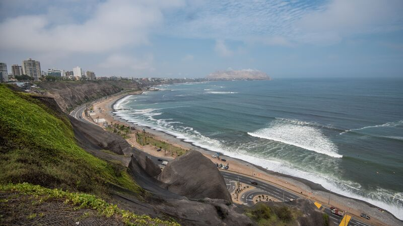 A beach and road in Lima, Peru.