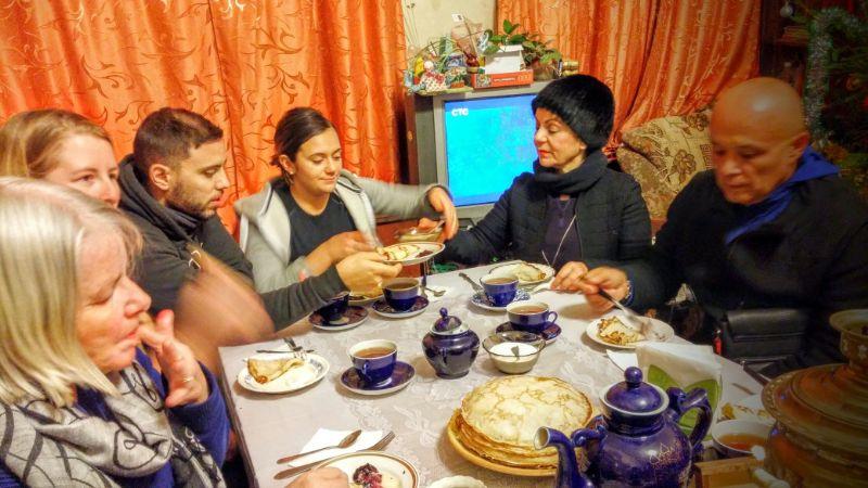 People eating pancakes.