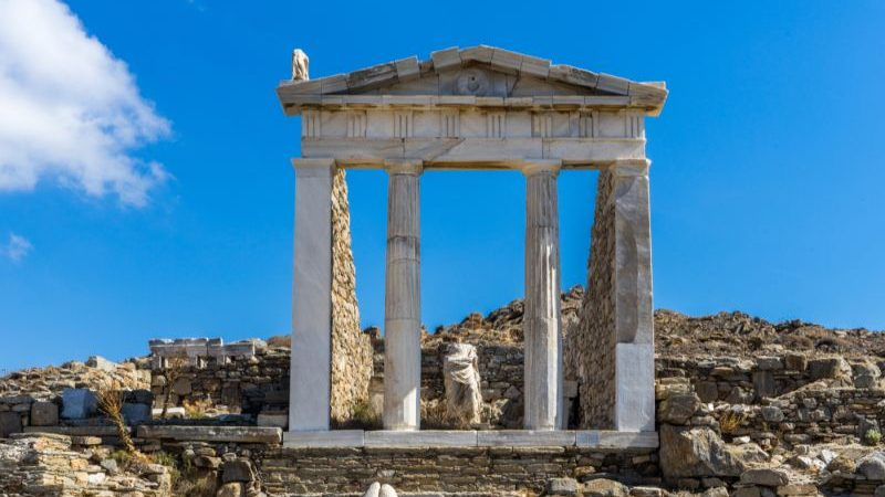 Ancient monuments and ruins on Delos, Greece.