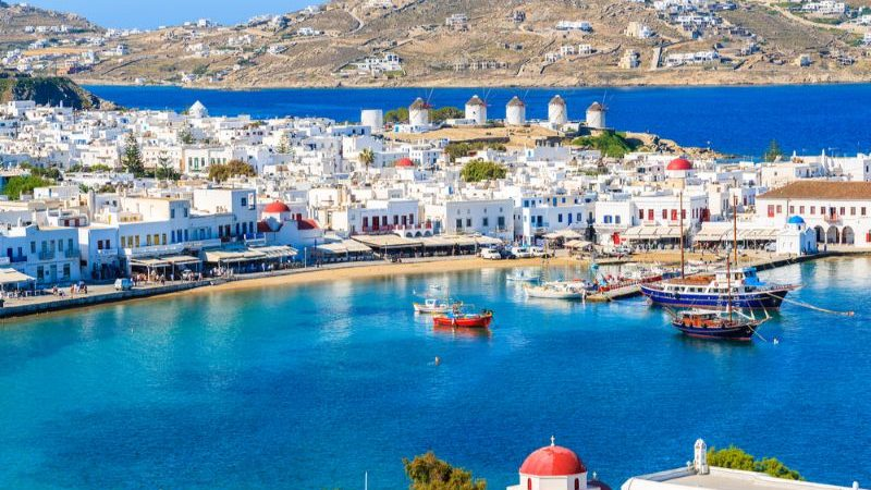 Mykonos port with boats