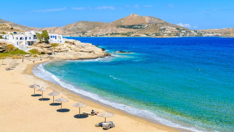 beautiful bay with beach in Paros, Greece