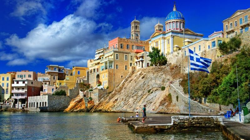 Syros coastline, with beautiful buildings