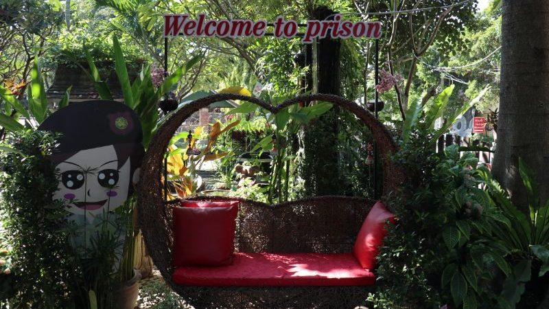Leafy courtyard in a women's prison