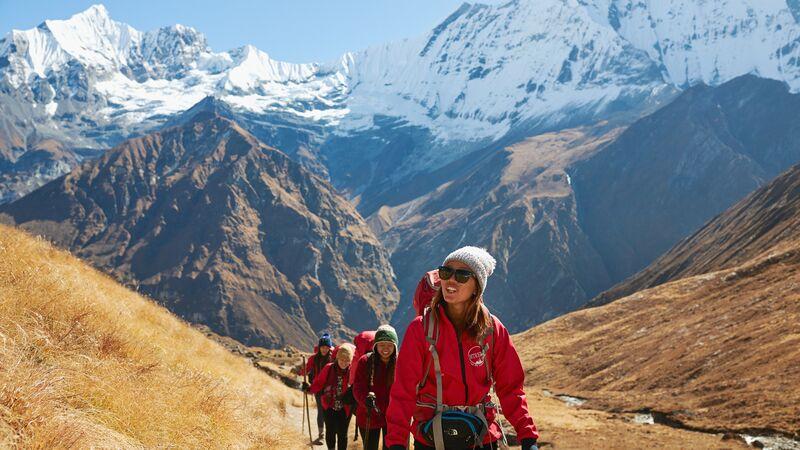 A group of trekkers in Nepal.