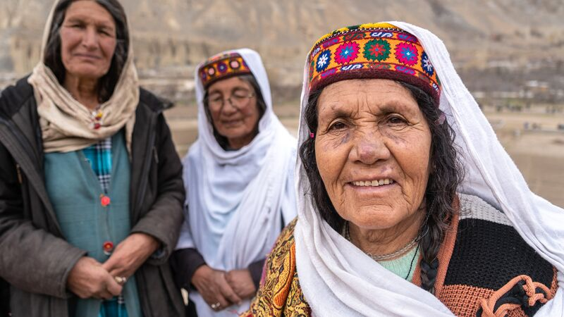 Three women in a village in Pakistan