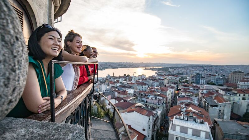 Travellers looking at a view in Turkey.