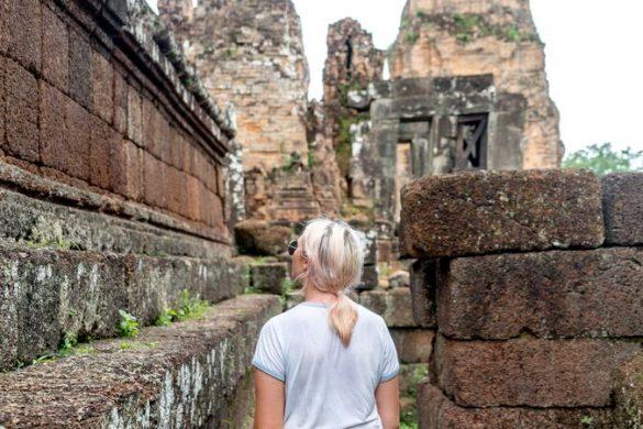 female traveller at Angkor Wat