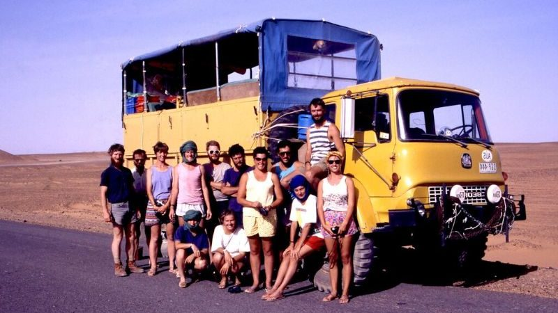 A group of travellers in front of a truck in Africa in 1988