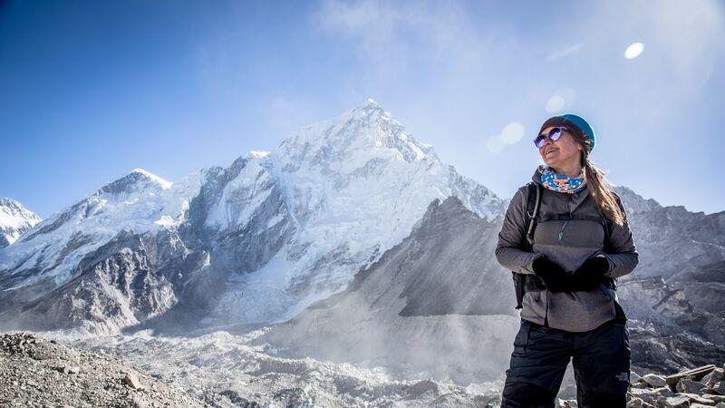 Female traveller at Everest Base Camp