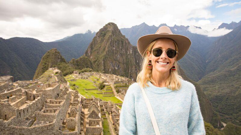 Traveller in front of Machu Picchu